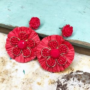 ANTHROPOLOGIE Red Raffia Statement Earrings